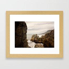 Pancake Rocks- Waves Framed Art Print