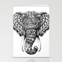 ornate elephant Stationery Cards featuring Ornate Elephant Head by BIOWORKZ