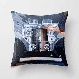 1939 classi car on old mid century Boston Harbor vintage map Throw Pillow