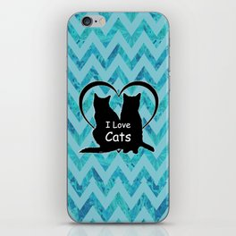 I Love Cats Silhouette iPhone Skin