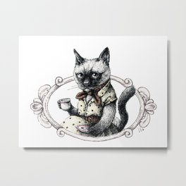 Portrait of Lady Cat Metal Print