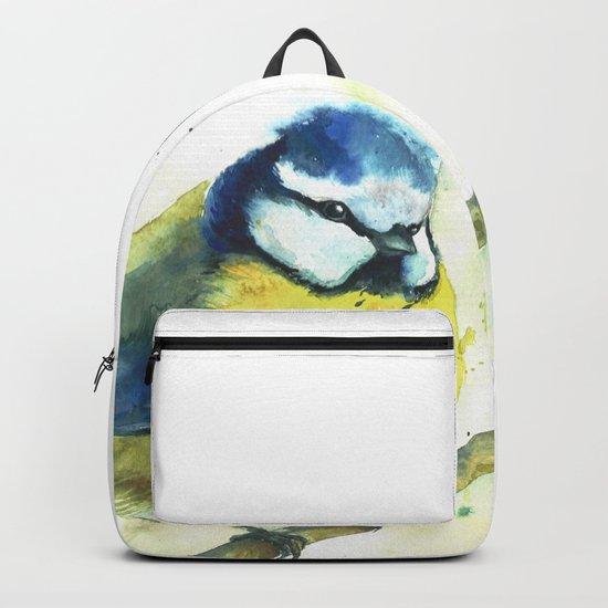 Watercolor titmouse bird Backpack