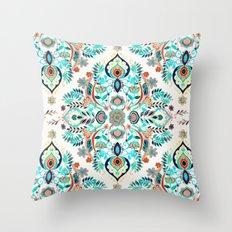 Modern Folk in Jewel Colors Throw Pillow