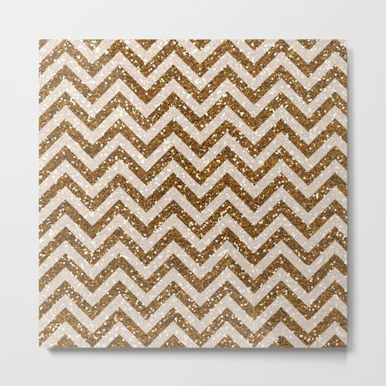 Sparkling brown glitter chevron pattern - coffee II Metal Print