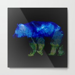 Grizzly in the Shadows Metal Print
