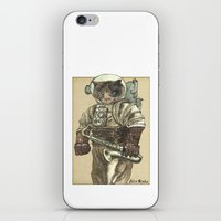 saxophone iPhone & iPod Skins featuring Space Cat with Saxophone by Felis Simha