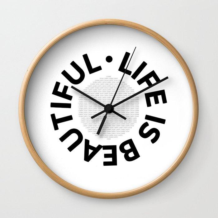 Text Art LIFE IS BEAUTIFUL - CARPE DIEM Wall Clock