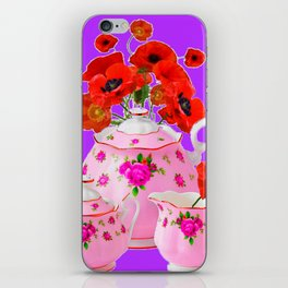 DECORATIVE PORCELAIN & RED  POPPIES FLORA  ART iPhone Skin