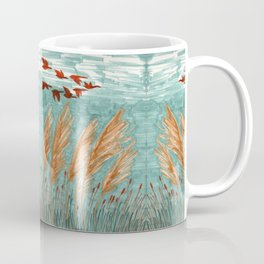 Geese Flying over Pampas Grass Coffee Mug