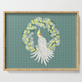 Cockatiel with daisy palm wreath Serving Tray