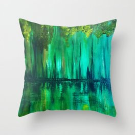 Green reflection Throw Pillow