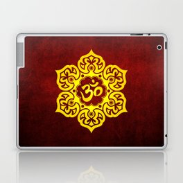 Vintage Scratched Yellow and Red Lotus Flower Yoga Om Laptop & iPad Skin