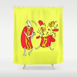 Hot Dog got a hit Shower Curtain