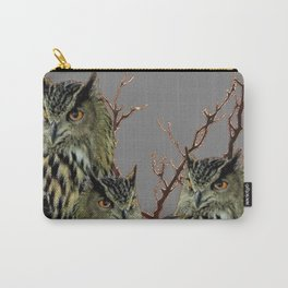 FOREST  WOODS OWL FAMILY GREY ART DESIGN  ART Carry-All Pouch