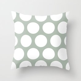 Large Polka Dots: Neutral Green Throw Pillow