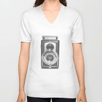 vintage V-neck T-shirts featuring Vintage Camera by Ewan Arnolda