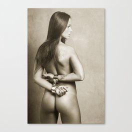 Woman in handcuffs and photograph with Vintage Finish Canvas Print