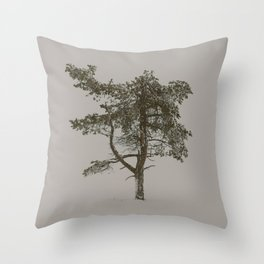 Solo tree - Minimalistic tree in Lapland, Finland against snow Throw Pillow
