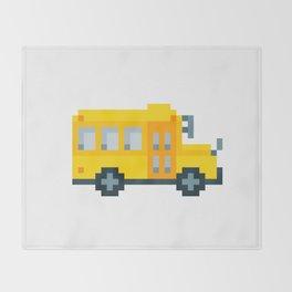 Pixel School Bus Throw Blanket