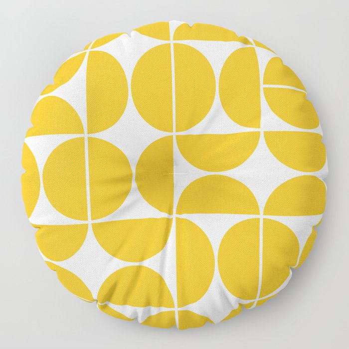 Mid Century Modern Geometric 04 Yellow Floor Pillow