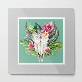 Boho Floral Skull Grey & Teal Metal Print