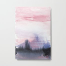 Abstract Watercolor Forest Metal Print