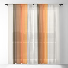 Retro Golden Rainbow - Straight Sheer Curtain