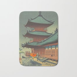 Asano Takeji-Rain In Kiyomizu Temple Vintage Japanese Woodblock Print Art Bath Mat