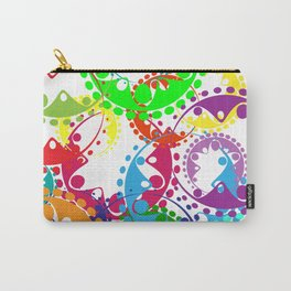 Texture of bright colorful gears and laurel wreaths in kaleidoscopic style. Carry-All Pouch
