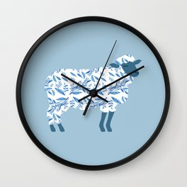 Sheep made of floral pattern Wall Clock