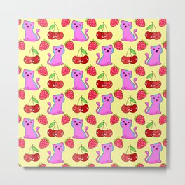 Cute funny sweet adorable little pink baby tigers, little cherries and red ripe summer strawberries cartoon fantasy light sunny pastel yellow pattern design Metal Print