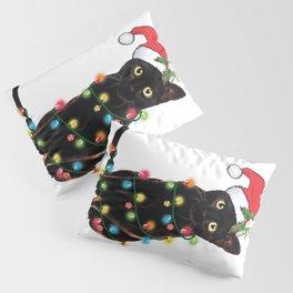 Santa Black Cat Tangled Up In Lights Christmas Santa Graphic Pillow Sham