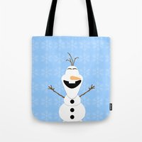 olaf Tote Bags featuring Olaf by Aya Ghoneim