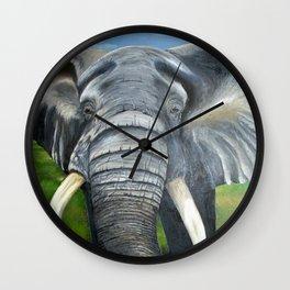 Elephant, Male Elephant Painting Wall Clock