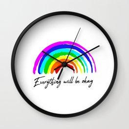 Everything will be okay | rainbow painting Wall Clock