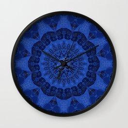 Mandala pattern yoga sign namaste navy dark blue cobalt Wall Clock