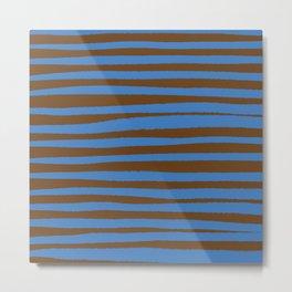 Brown & Blue Stripes  Metal Print