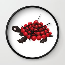 Red and black tortoise Wall Clock