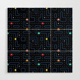 Pac-Man Retro Arcade Video Game Pattern Design Wood Wall Art