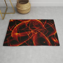Dark web of red cosmic lines of energy and a mystical smoke screen on a black background. Rug