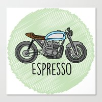 cafe racer Canvas Prints featuring Espresso - Cafe Racer by Andre Gascoigne