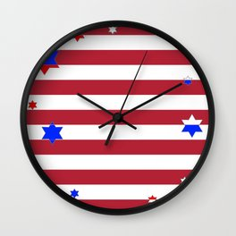 PATRIOTIC JULY 4TH  RED STARS DECORATIVE DESIGN Wall Clock
