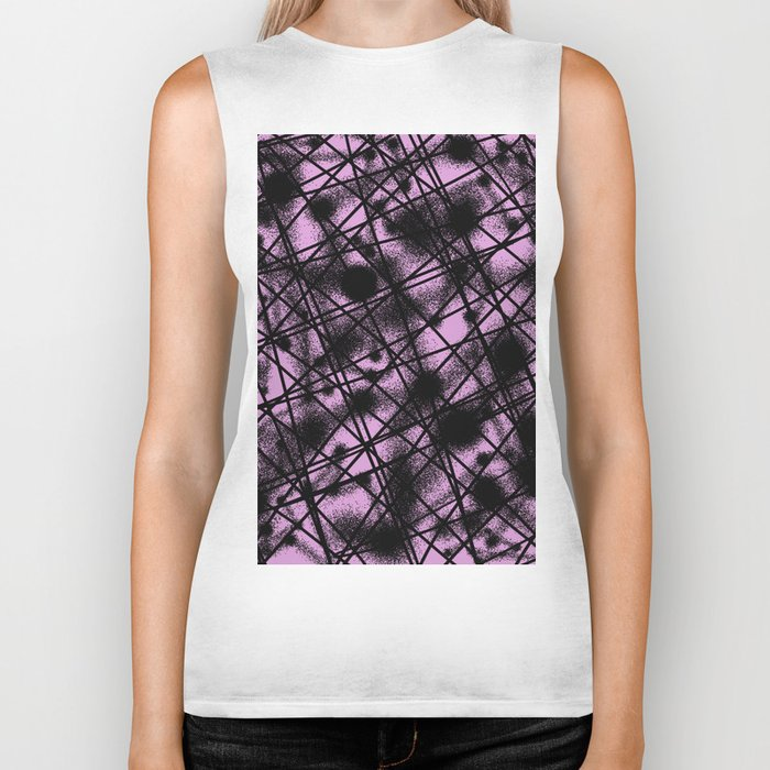 Web Of Lies - Black and pink conceptual, abstract, minimalistic artwork Biker Tank