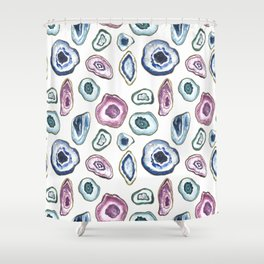 Geode Crystal Watercolour Print Shower Curtain