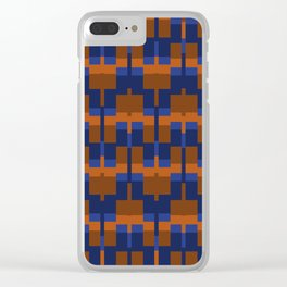 Squares and Lines in Blues and Tans Clear iPhone Case