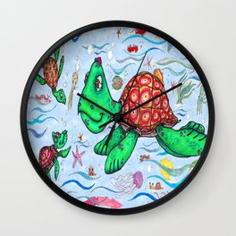 Sea Turtles and their diet Wall Clock