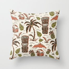Tiki Party - Ivory Sienna Throw Pillow