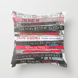 Stack of CDs Throw Pillow
