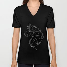 Geometric Wolf (White on Black) Unisex V-Neck