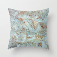 jewish Throw Pillows featuring Marble in shades of blue and gold by Brown Eyed Lady